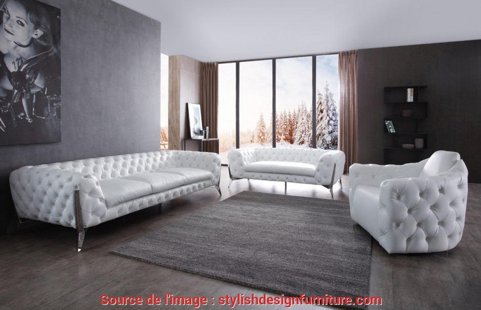 Bello Divani Casa Catania Transitional White Leatherette & Stainless Steel Sofa Set