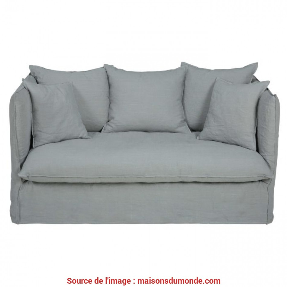 Confortevole Light Grey 2-Seater Washed Linen Sofa Bed