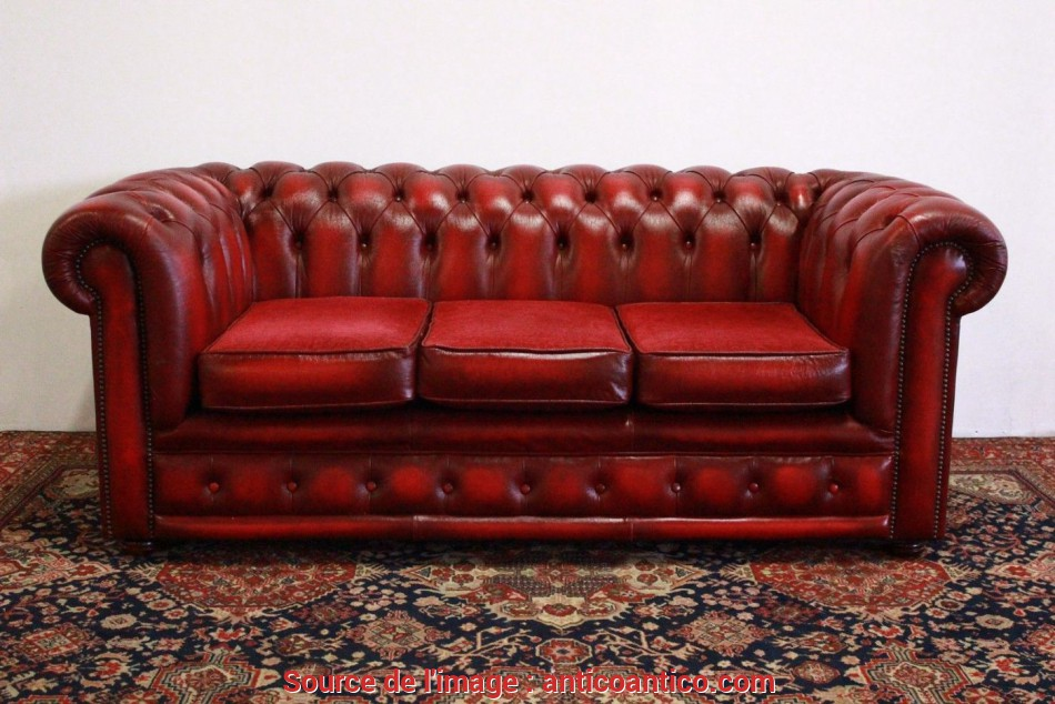 Stupefacente Divano Chesterfield 3 Posti In Pelle Bordeaux Originale Made In UK
