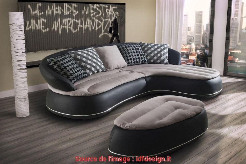 Bello Divano In Pelle, Chaise Longue, Forme Arrotondate, IDFdesign