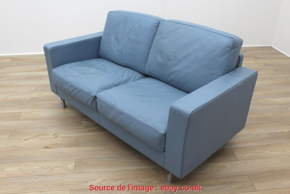 Fresco Poltrona Frau Blue Leather Executive Office Sofa