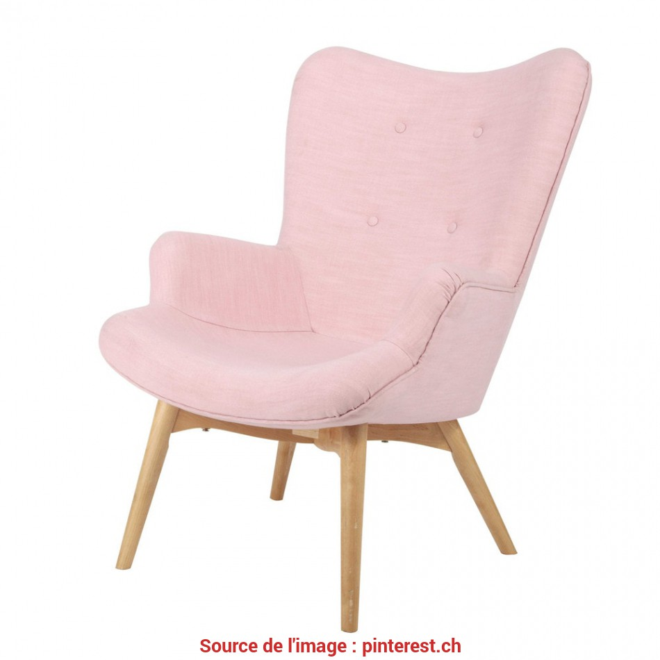 Magnifico Vintage Armchair In Pink Fabric, Iceberg Maisons Du Monde