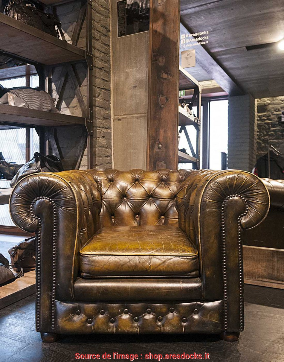 Nuovo AREADOCKS RESEARCH Chester Chesterfield Armchair Vintage Brown