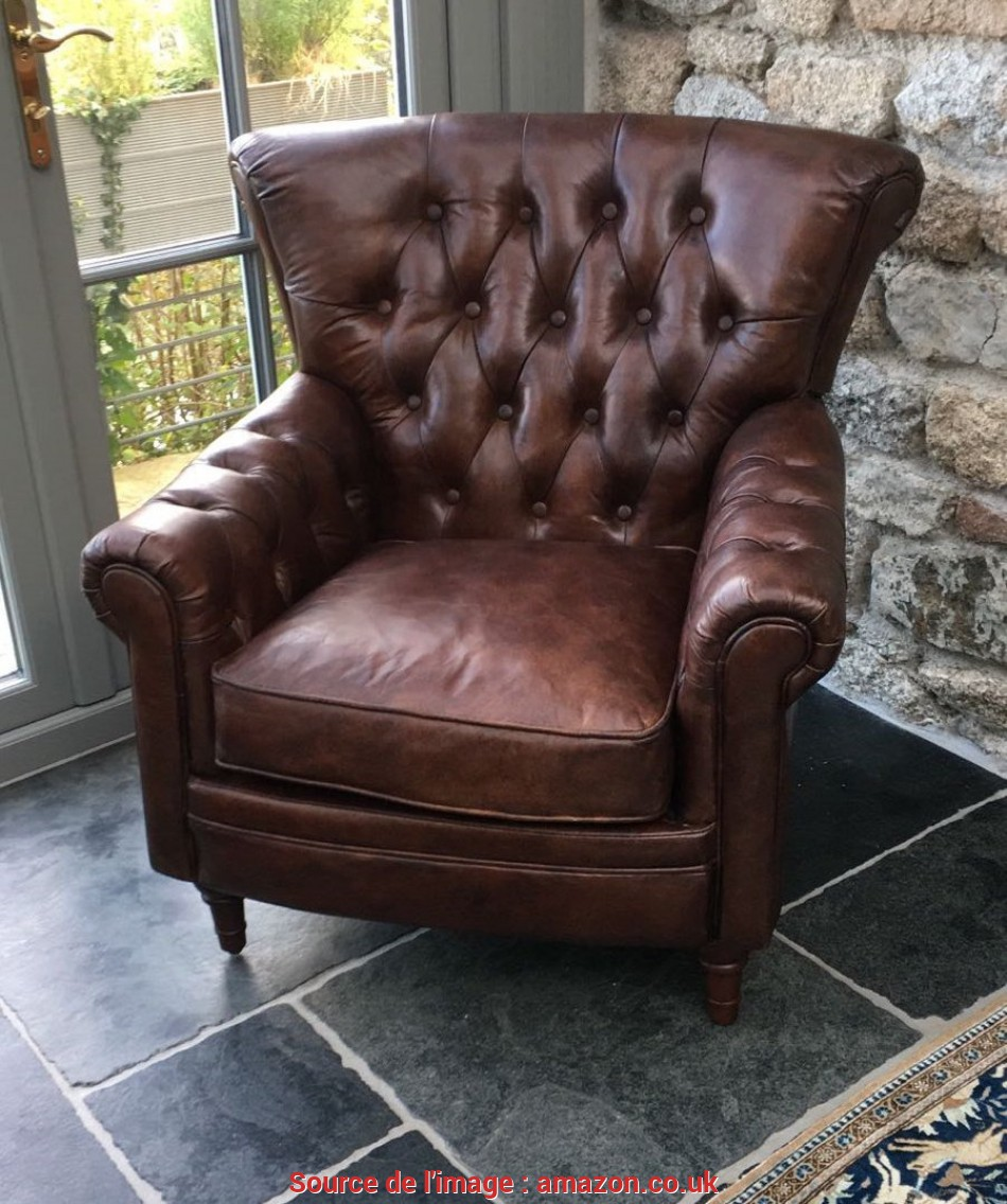 Magnifico [PRDCT] Chesterfield Real Leather Settle Industrial Chic Armchair Vintage Clubchair: Amazon.Co.Uk: Kitchen & Home