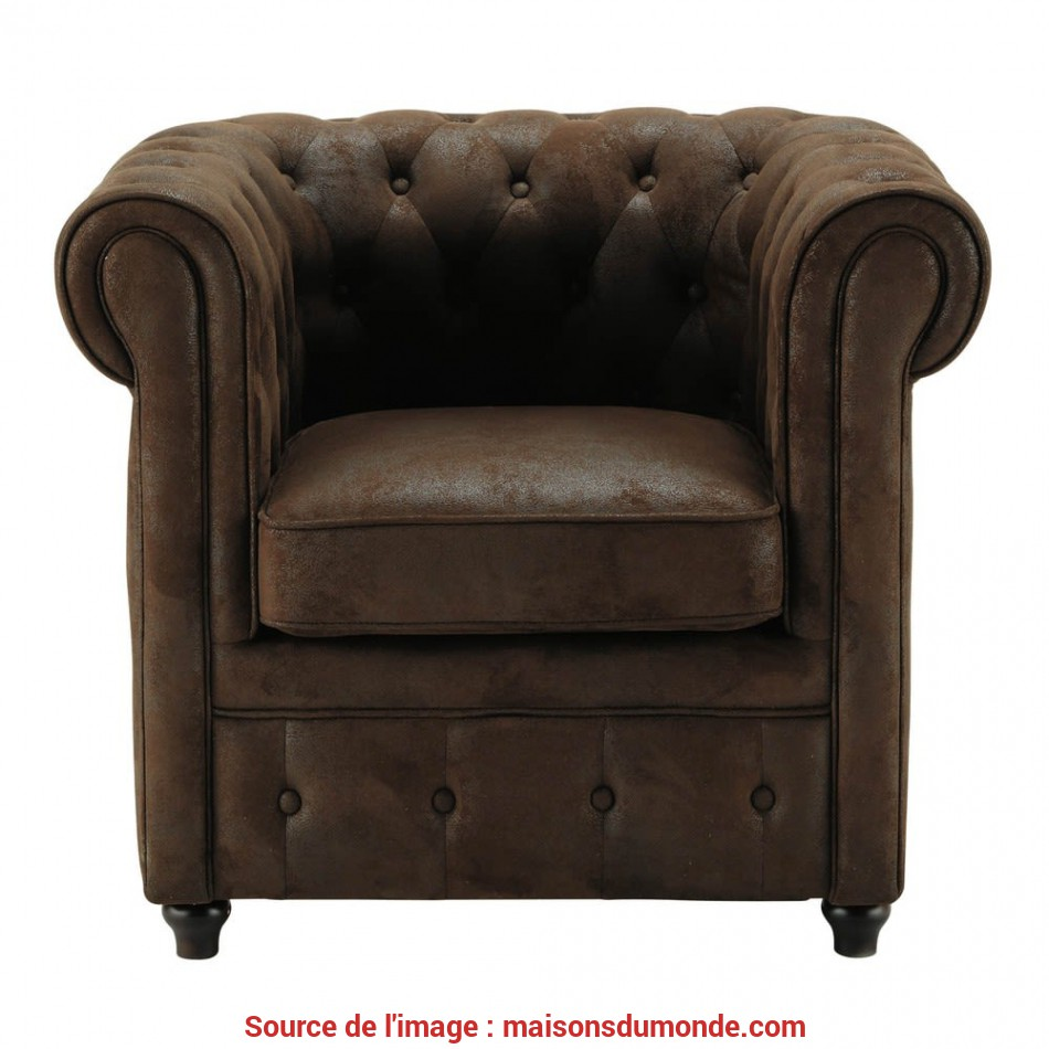 Premio Poltrona Imbottita Marrone In Simil Pelle Chesterfield