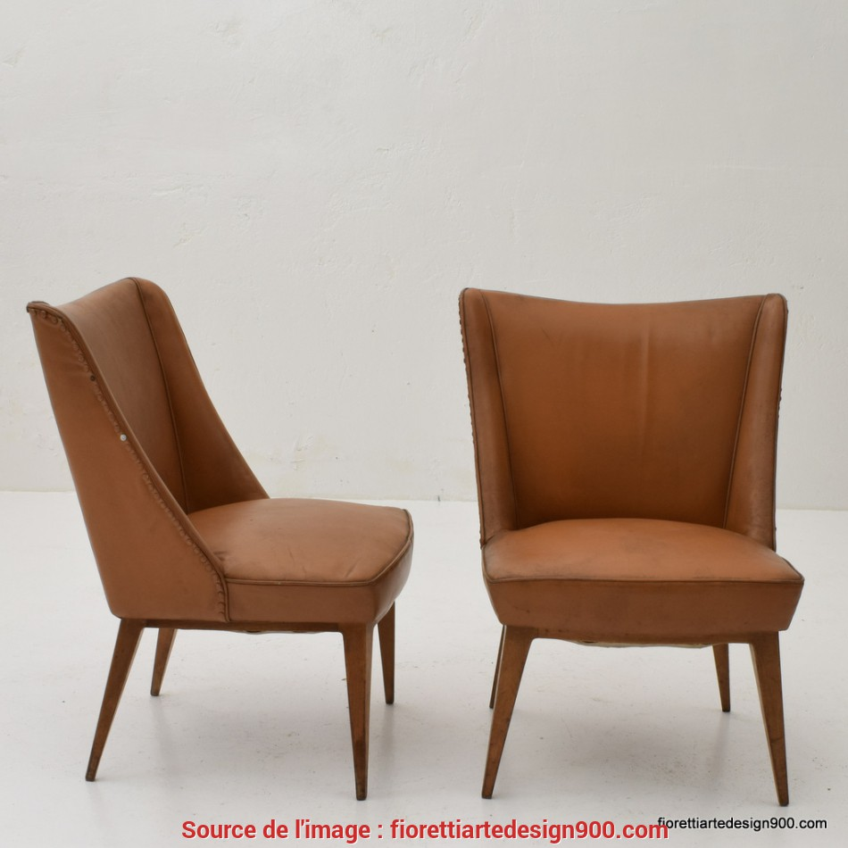 Fresco 2 Poltrone Fintapelle Marrone Design 50 Armchairs, 1 450.00EUR