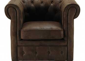 A Buon Mercato Microfibre Button Armchair In Brown Chesterfield, Casa, & Al