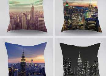 Preferito New York City View Alba Modello In Cotone Cuscino, Auto A Casa Divano Empire State Building Design Dark Night Pillw Caso In, York City View Alba