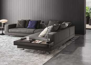 Meraviglioso Minotti White Sectional With Attached Leather Table : Fabric : 06 Elephant Color: Pitti ; Leather Table Name: Pelle Extra Color, Visone