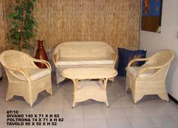 Stupefacente AT/10 SALOTTO RATTAN NATURALE SALOTTO IN RATTAN NATURALE