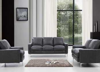 Dettaglio Divani Casa Empire Modern Dark Grey Leather Sofa Set