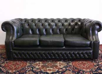 Fantastico Divano Chesterfield 3 Posti In Pelle Verde Originale Made In UK