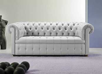 Esperto Chesterfield Sofa / Leather / 3-Seater / Gray -, CHESTER