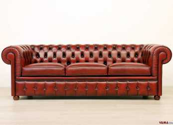 Bello Chesterfield Divano, Divano Chesterfield In Pelle