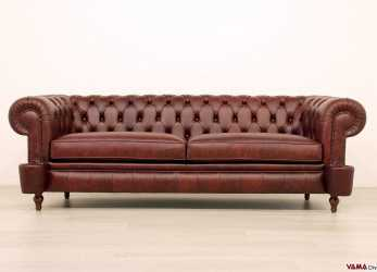 Bello Divano Chesterfield Milano Originale In Pelle Vintage