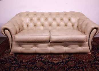 Lussuoso Bel Divano Chesterfield / Chester 3 Posti Originale Inglese In Pelle Color Panna