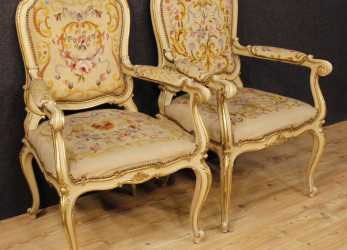 Fresco Details About Couple Armchairs Lacquered Furniture Chairs Italian Wood Antique Style Louis XV