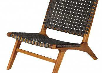 Elegante Garden Armchair In Solid Acacia, Charcoal Grey Resin Wicker Nairobi, Maisons Du Monde