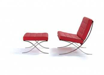 Originale ... Poltrona Barcelona Chair Rossa + Pouf IN PELLE