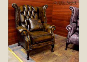 Migliore Poltrona Chesterfield Queen Anne Chester In Pelle Originale Inglese