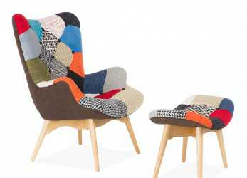 Lussuoso FREATHER Chair, Ottoman PATCHWORK (Design Icon Chairs)