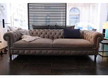 Bello Poltrona Frau Chester, Sofa Leather Smokey Soul