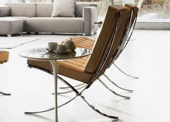 Antico Mies, Der Rohe Design Barcelona Chair Saarinen Side Table