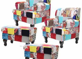 Bello Kit 02 Poltronas + 02 Puffs Anastacya Patchwork Decorativa