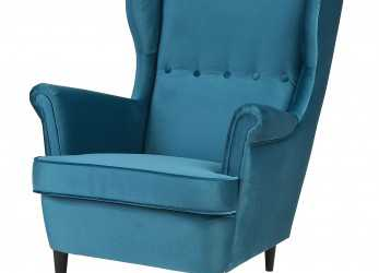 Fresco STRANDMON Wing Chair, Velvet Turquoise