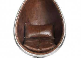 Stupefacente Brown Leather Industrial, Armchair Coquille