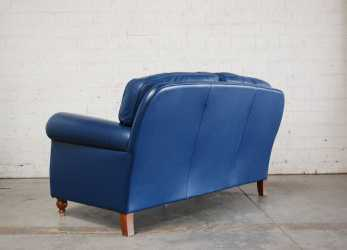 Lussuoso Blue Leather George Sofa From Poltrona Frau, 1999