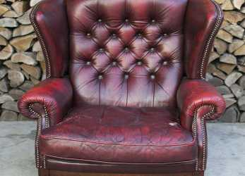 Superiore Poltrona Chesterfield Queen Anne Originale Inglese Vintage In Vera Pelle Color Bordeaux
