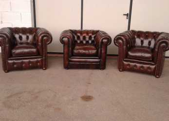Sbalorditivo Poltrone Chesterfield Vintage Originali In Pelle
