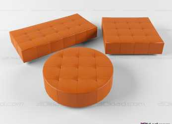 Preferito 3D Model Square, Rectangular, Circular Simple Pouf Cubo Poltrona Frau