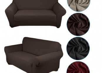 Nuovo Auralum® Stretch Fabric Sofa Cover/Lining Chaise Longue Furnishing Lounge, 1, Seater Sofa Black Copridivano, Posti(140-170CM) Brown [Energy Class A