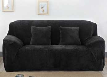 Bello Monba Thick Sofa Covers, 3 4 Seater Pure Color Slipcover Stretch Velvet Sofa Protector Armchair Slip Over Settee Couch Cover(2 Seater:145-185Cm,Black)