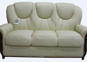 Elegante Lucca Genuine Italian Leather 3 Seater Sofa Settee Cream