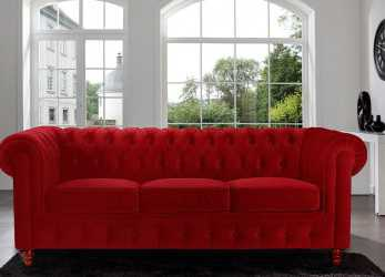Bello Amazon.Com: Divano Roma Furniture Velvet Scroll, Tufted Button Chesterfield Style Sofa, Red: Kitchen & Dining