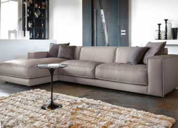 Più Recente Contemporary Sofa With Leather Chaise Longue