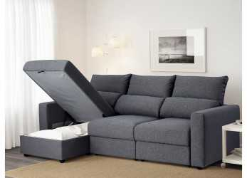 Stupefacente IKEA ESKILSTUNA 3-Seat Sofa With Chaise Longue Readily Converts Into A Bed