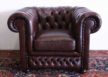 Fresco Chesterfield Club Armchair In Original Brown Leather Made In The