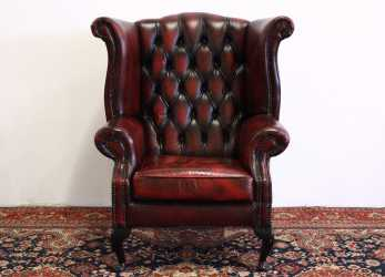 Bello Poltrona Chesterfield Queen Anne In Pelle Bordeaux (707)