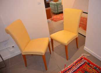 Bello Vintage Vittoria Yellow Leather Chairs From Poltrona Frau,, Of 6