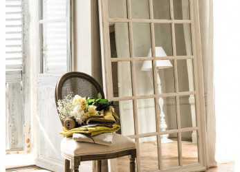 Eccezionale Wooden Window Mirror In White H 175Cm St Martin