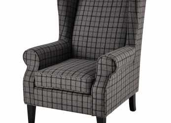 A Buon Mercato Wool Armchair In Grey Check, Maisons Du Monde