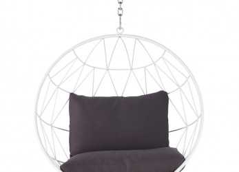 I Più Nuovi Hanging Garden Armchair In White Metal With Grey Cushions Palaos